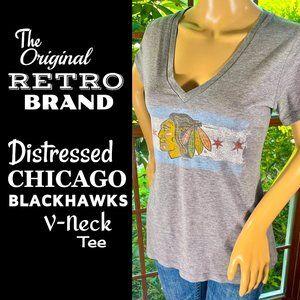 🆕NHL▪️Retro CHICAGO BLACKHAWKS V-Neck T-Shirt